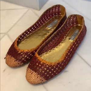 Prada leather woven flats 39